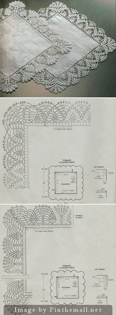 Crochet Patterns Lace Delicate lace edgings for hankies ~~ professione-donna… Filet Crochet, Crochet Doily Diagram, Crochet Lace Edging, Crochet Motifs, Crochet Stitches Patterns, Love Crochet, Beautiful Crochet, Crochet Designs, Crochet Doilies