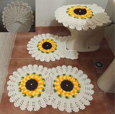 Jogo de banheiro girrassol nesta página o passo a passo.http://jnycroche.blogspot.com.br/2015/05/passo-a-passo-jogo-de-banheiro-de-croche-d...