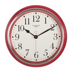 Studio Designs Home Vintage Metal Wall Clock Red Wall Clock Red Wall Clock, Best Wall Clocks, Red Kitchen Walls, Home Clock, Tabletop Clocks, Retro Clock, Round Mirrors, Modern Room, Vintage Metal