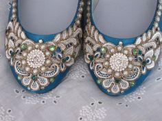 Wreath of Gold Bridal Ballet Flats Teal Wedding Shoes - Any Size - Pick your own shoe color and crystal color