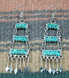 9c4d5a128 Item #760F- Zuni High End Three Tier 66ct Turquoise Chandelier Earrings by  R.