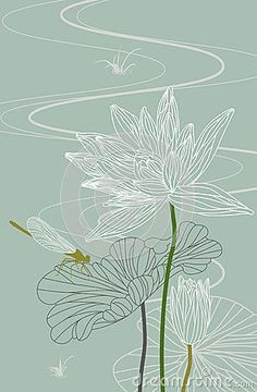 Photo about Dragonfly on a lotus leaf with blossom lotus flower. Illustration of floral, plant, lotus - 25480734 Photo about Dragonfly on a lotus leaf with blossom lotus flower. Illustration of floral, plant, lotus - 25480734 Doodle Drawing, Leaf Drawing, Plant Drawing, Lotus Drawing, Drawing Flowers, Art Floral, Motif Floral, Lotus Flower Art, Lotus Art