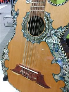 How pretty is this Paracho Elite Bajo Sexto guitar at 2016 Summer NAMM in Nashville, TN.