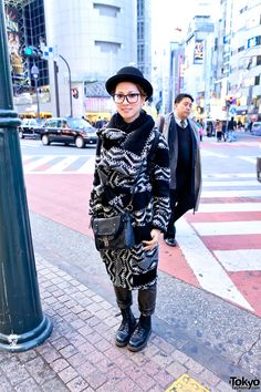 Harajuku street fashion | Long Knit Sweater & Dr Martens Boots