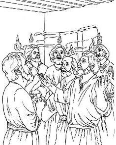 Pentecost Story. Coloring page, script and Bible story