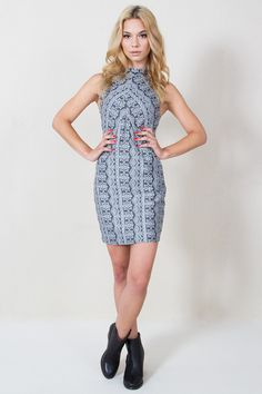 Mantra Dress-Abstract printed shift dress with a mock neck. Side pockets. Invisible zipper closure on back.