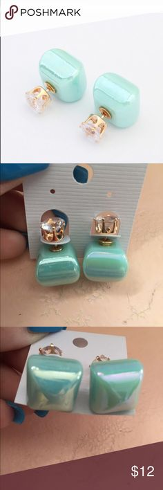 IRIDESCENT TWO SIDED Double sided earrings in candy colors. Gold tone w crystal on other side.  Second pic is color Jewelry Earrings
