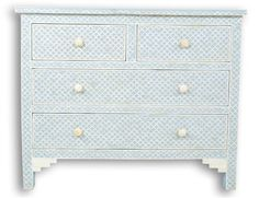 Surrealz Bone inlay mother of pearl inlay sideboard chest of drawers grey blue