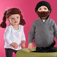 Chilly weather? Snow storm? Boring, blustery day? Laugh it off with this collection of clever toppers. From Beardo's beanie-plus-beard knit hats that combine little gent whimsy and toasty warmth with Owl Bee Cute's pigtail-inspired pieces, we'll have your quirky kids cozy, covered and chuckling