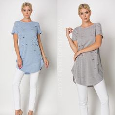 """SHOP our New Arrivals  """"Jocelyn Tee"""" - available in both blue and grey! Wear as a tee as shown or throw it on with your gladiator sandals as a dress!  CODE: """"FREESHIP"""" for free shipping"""