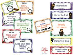 Rules and behavior clip chart for a detective themed classroom. 2nd Grade Classroom, Classroom Design, Classroom Themes, Classroom Organization, Teaching Rules, Teaching Schools, Teaching Ideas, School Themes, School Ideas