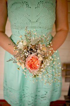 Bridesmaid bouquet with David Austin Juliet Garden Roses