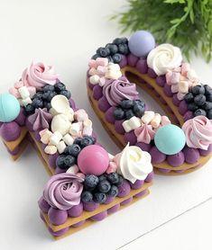 Number Birthday Cakes, Pretty Birthday Cakes, Number Cakes, Pretty Cakes, Cute Cakes, Keks Dessert, Cake Lettering, Cake Recipes, Dessert Recipes