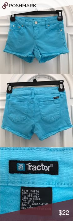 Girls Blue Shorts with cutoff detail Tractor girls blue shorts from Nordstrom. Size 10. Nordstrom Bottoms Shorts
