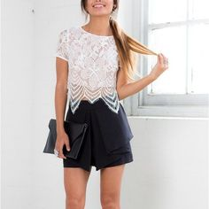Zane Eye Lash Lace Crop Top - The Wild Flower Shop   A Summer wardrobe essential in pretty lace fabric. This sassy top gets a dose of chic-ness & sexy allure with its pretty fabric & crop length. Perfect match with denims for an on-trend outfit! • Pull over Material: Lace $25