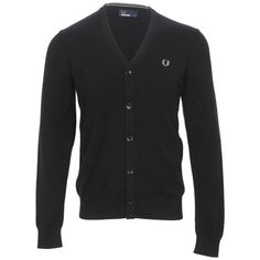 Fred Perry Cardigan Sweater in BLACK