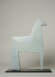 Cast bronze Horse Sculpture / Equines sculpture by artist Stephen Page titled: 'White Horse (Minimalist Little bronze Contemporary statuettes statues)'