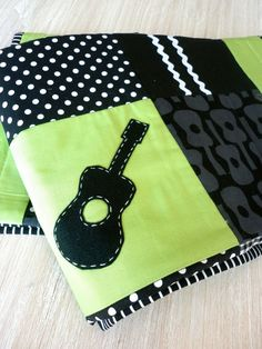 GUITAR Baby Boy CRIB QUILT in Lime Green Made to by AlphabetMonkey, $160.00
