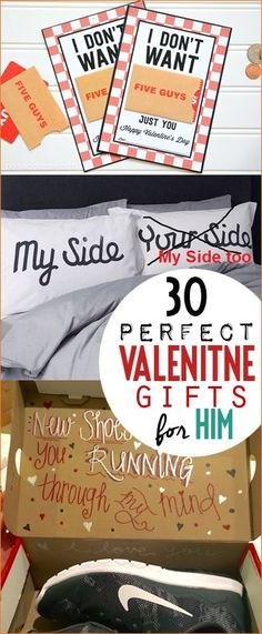 Fun Valentine Gifts for Him. Creative Valentine gifts to spoil your boyfriend, fiancé or husband. DIY and store bought gifts for someone you adore. Gift card printables, you've been running through my mind and hilarious pillows with and inside joke.