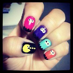Pacman nails :)!! #nails #nailart
