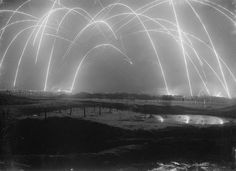 A British photographer captured this amazing trench warfare photoduring World War I in 1917. These are mortar rounds firing back and forth.