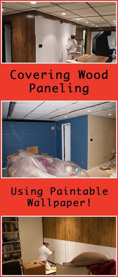 Wondering what to do with wood paneling? Whether to paint it or replace it with drywall?  Try Covering Wood Paneling Using Paintable Wallpaper