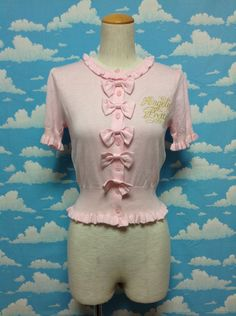 Frill Heroine Knit Cardigan in Pink from Angelic Pretty - Lolita Desu
