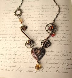 Steampunk Valentine necklace by TimeMachineJewelry on Etsy, $45.00