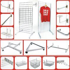 Grid Wall Gridwall Mesh Chrome Retail Shop Display Panel