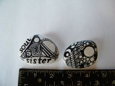 Soul Sister Zentangle Painted Rock Art by PonderingPebbles on Etsy