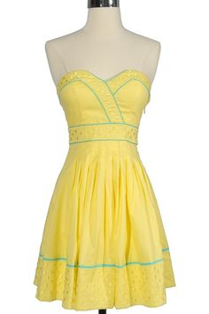 This yellow and teal strapless is great for spring!
