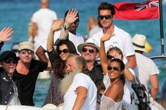 Bono and his wife Alison Hewson sighting at 'club 55' on July 24, 2014 in Saint-Tropez, France.  (Photo by Pierre Suu/GC Images) #golfesttropez