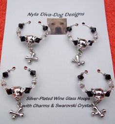 Dog & Dog Bones Wine Glass Hoops Charms  by NylaDivaDogDesigns, $32.00