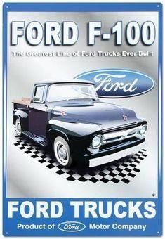 Ford Motor Company Pickups Trucks Tin Sign at Old Pickup Trucks, Lifted Ford Trucks, New Trucks, Custom Trucks, Bmw Classic Cars, Classic Chevy Trucks, Maserati, Bugatti, Chevy Truck Models