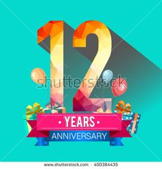 12 Years Anniversary celebration logo, 12th Anniversary celebration, with gift…