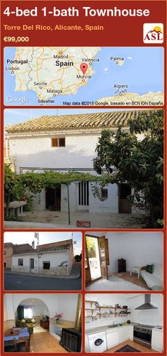 Townhouse for Sale in Torre Del Rico, Murcia, Spain with 4 bedrooms, 1 bathroom - A Spanish Life Murcia, Valencia, Log Burning Stoves, Portugal, Built In Bbq, Alicante Spain, Village Houses, Semi Detached, Townhouse