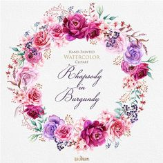 Acuarela guirnalda de Borgoña y Ramos con elementos florales de peonía y rosas. Estilo Boho, archivos PNG individuales. Imágenes Prediseñadas de invitaciones de boda