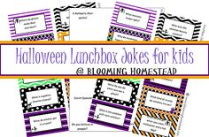 Lunchbox Jokes for kids {Halloween Edition!} - Blooming Homestead #jokes #halloween #kids #kidsjokes #freeprintable #lunchbox