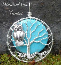Wire Wrapped Tree of Life with Turquoise Howlite Moone and Owl Charm