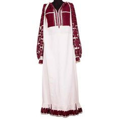 A dark red traditional Romanian dress, vintage and entirely handmade! Dark Red, Cold Shoulder Dress, Embroidery Dress, Dress Vintage, Romania, Unique, Handmade, Traditional, Dresses