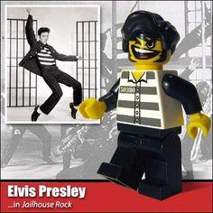 Famous People in Lego ~ Elvis Presley Elvis Presley, Legos, Rock N Roll, The Wonderful Company, Elvis Memorabilia, Lego Furniture, Jailhouse Rock, Lego People, Lego Man