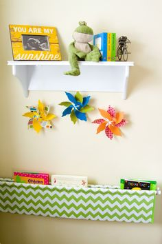 DIY fabric book holder, chevron fabric.