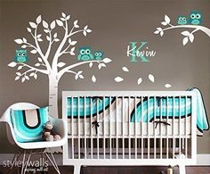 Handmade Nursery Owls Tree Wall Decal and Branch for Nursery Baby Room Décor…