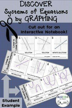 Students DISCOVER how to solve a systems of equations by analyzing graphs. Students can use as notes and even cut and paste into their interactive notebooks! This is a great lesson that helps students think outside the box! Algebra Activities, Maths Algebra, Math Resources, Math 2, Classroom Resources, Classroom Ideas, Calculus, Numeracy, Math Classroom