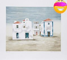 #fashion A view of beach houses in #Algarve, Portugal in a light folk art style by the American artist Mary Faulconer (1912 - 2011). In soft tones of blue and br...