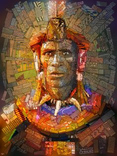 A series of mosaic artworks. Created for Sasi's, an African restaurant in Athens,  Greece. Shaka - The great Zulu king,