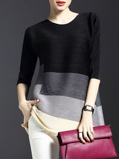 Ribbed Color-block #Tunic