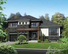 This split-level house looks truly contemporary with its tasteful combination of wood and stone and its modern-looking windows. The home is 50 feet wide by 40 feet deep and provides square feet of living space. A 474 square-foot two-car garage is at Garage House Plans, House Floor Plans, Car Garage, Contemporary House Plans, Modern House Plans, Split Level Exterior, Storey Homes, Architectural Section, Facade House