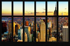 Wall Mural - Window View - Cityscape of Manhattan at Sunset - New York Wall Mural – Large by Philippe Hugonnard at AllPosters.com