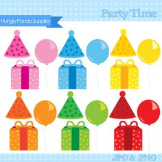 Birthday digital clipart, balloons clipart, party clipart, celebration clip art
